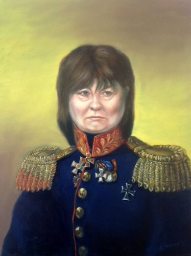 Mary Harney as &quot;General Politician&quot;<br> after &quot;Alexey A. Protasov&quot; by George Dawe